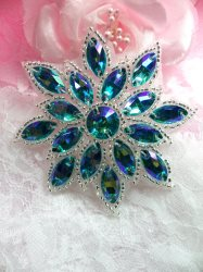N19 Turquoise AB Glass Rhinestone Applique Snowflake Floral Beaded Patch 2.75""