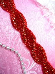 RMN2-rd-26 REMNANT Red Rhinestone Jewel Braided Twist Trim 26""