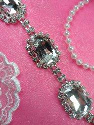 "N23 Rectangle Silver Crystal Clear Glass Rhinestone Metal Backing Trim 1"""