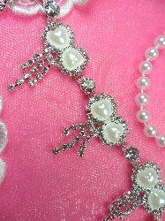"N25 Petite Pearl Bow Crystal Rhinestone Dangles Embellishing Trim 1.25"""