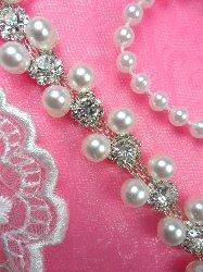 """N26 Bridal Trim Pearl Crystal Rhinestone .5"""""""