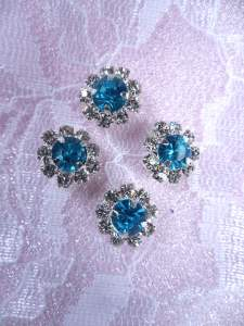 ACT/N27 Set of ( 4 ) Mini Turquoise Flower Crystal Rhinestone Metal Back Embellishment Accents .25""
