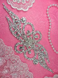 "N33 Bridal Crystal Rhinestone Sash Applique Metal Back Embellishment 8"""