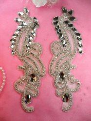 "N46 Crystal Glass Rhinestone Appliques Mirror Pair Silver Beaded 9.5"""