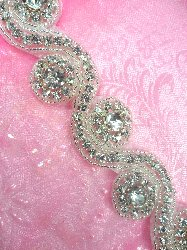 "N4 Crystal Clear Glass Rhinestone Floral Waves Trim Silver Beaded 1.25"""