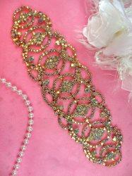 "N76 Rhinestone Applique Crystal AB Bridal Sash Gold Metal Back Embellishment 7.75"""