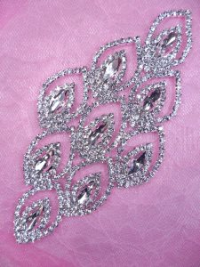 "N78 Bridal Crystal Rhinestone Sash Applique Metal Back Embellishment 5.25"""