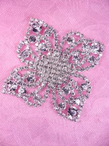 N82 Bridal Crystal Rhinestone Sash Applique Metal Back Embellishment 2.25""