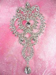 "N9 Elegant Crystal Clear Glass Rhinestone Princess Style Embellishment Designer Metal Back  7.25"""