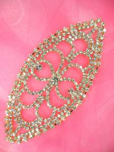 N90 Crystal Rhinestone Applique Gold Embellishment 5""