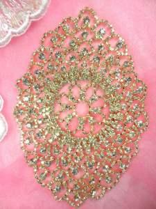 """N91 Crystal Rhinestone Applique Gold Embellishment 6"""""""