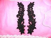 """Venise Lace Appliques Mirror Pair Black Flower 10"""" (N93X-bk)"""