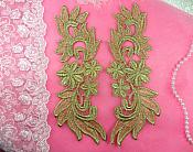 "Venise Lace Appliques Mirror Pair Gold Metallic Flower 9"" (N94X-gl)"
