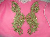 "Venise Lace Appliques REDUCED Mirror Pair Gold Metallic Flower 10"" RMN97X-gl"