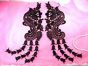"Unique Appliques Mirror Pair Black Flower Bell Paisley Dangles 12"" (N99X-bk)"