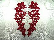 """Floral Venise Lace Appliques Mirror Pair Burgundy 9.5"""" (GB360X-bur)"""