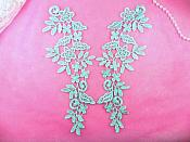 "Floral Venise Lace Mirror Pair Appliques Light Blue 9.5"" (GB360X)"