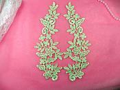 "Floral Venise Lace Mirror Pair Appliques Lime Green 9.5"" (GB360X-lm)"