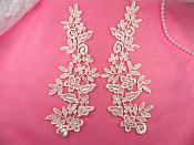 """Floral Venise Lace Mirror Pair Appliques Light Pastel Pink 9.5"""" (GB360X-lpk)"""