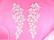 """REDUCED Embroidered Appliques Floral Venise Lace Mirror Pair Pink 9.5"""" (RMGB360X)"""