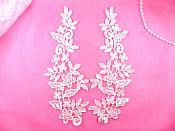 "REDUCED Embroidered Appliques Floral Venise Lace Mirror Pair Pink 9.5"" (RMGB360X)"