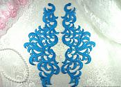 """Embroidered Appliques Turquoise Scroll Mirror Pair Patch 11.5"""" (GB371X-tr)"""