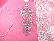 "Embroidered Patch Silver Costume Applique Metallic Iron On Designer 8"" (GB460-sl)"