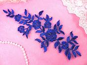 "Floral Venise Lace Applique Royal Blue Venice Flower 9.5"" (GB461-bl)"