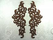 "Embroidered Appliques Venice Lace Mirror Pair Craft Supplies Brown Patch 10"" (GB463X-br)"