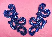 """Sequin Appliques Blue MIRROR PAIR Scroll Designer Beaded Iron On 7"""" (XR357X-bl)"""
