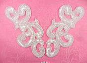 """(REDUCED) Sequin Appliques Crystal MIRROR PAIR Scroll Designer Beaded Iron On White Backing 7"""" (RMXR357X)"""