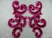 "Sequin Appliques Fuchsia MIRROR PAIR Scroll Designer Beaded Iron On 7"" (XR357X-fs)"