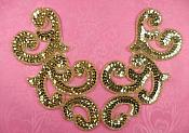 """Sequin Appliques Gold MIRROR PAIR Scroll Designer Beaded Iron On 7"""" (XR357X-gl)"""