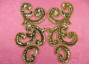 "Sequin Appliques Gold MIRROR PAIR Scroll Designer Beaded Iron On 7"" (XR357X-gl)"