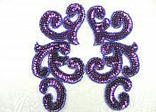 "Sequin Appliques Purple MIRROR PAIR Scroll Designer Beaded Iron On 7"" (XR357X-pur)"