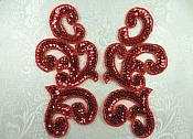 "Sequin Appliques Red MIRROR PAIR Scroll Designer Beaded Iron On 7"" (XR357X-rd)"