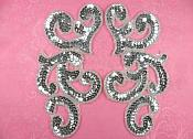 "Sequin Appliques Silver MIRROR PAIR Scroll Designer Beaded Iron On 7"" (XR357X-sl)"