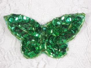 """MA160 Green Beaded Sequin Butterfly Brooch / Earrings / Applique 2"""""""