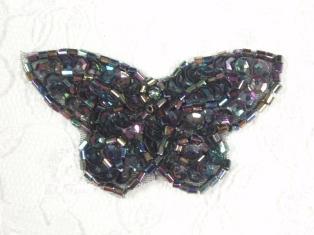 "MA160 Black AB Beaded Sequin Butterfly Brooch / Earrings / Applique 2"""