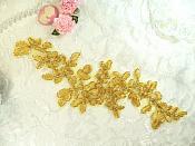 """One Side Gold Venice Lace Floral Appliques Venise Lace Mirror Pair Appliques 9.5"""" (OSGB341X)"""