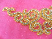 "Rhinestone Applique Beaded Gold Crystal Aurora Borealis Craft Patch 9.5"" (P2)"