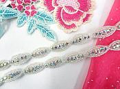"Rhinestone Trim Crystal Stones Silver Aurora Borealis Beads 1/2"" (P3)"