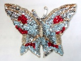 """Silver Butterfly 7"""" Sequin Beaded Applique  K8627"""