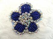 "Applique Blue Beaded Crystal AB Rhinestones 2.25"" (RJ1)"