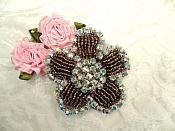 "Applique Coffee Beaded Crystal AB Rhinestones 2.25"" (RJ1)"