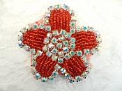 "Applique Red Beaded Crystal AB Rhinestones 2.25"" (RJ1)"