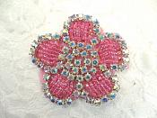 "Applique Rose Beaded Crystal AB Rhinestones 2.25"" (RJ1)"