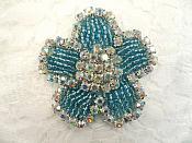 "Applique Turquoise Beaded Crystal AB Rhinestones 2.25"" (RJ1)"