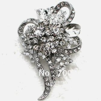 "RJ3 Vintage Style Bridal Brooch Silver Crystal Rhinestone Pin 2.5"""