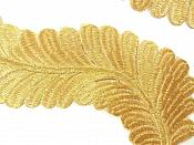 RMGB306 REDUCED Embroidered Appliques Gold Metallic Mirror Pair Iron On 7.5""
